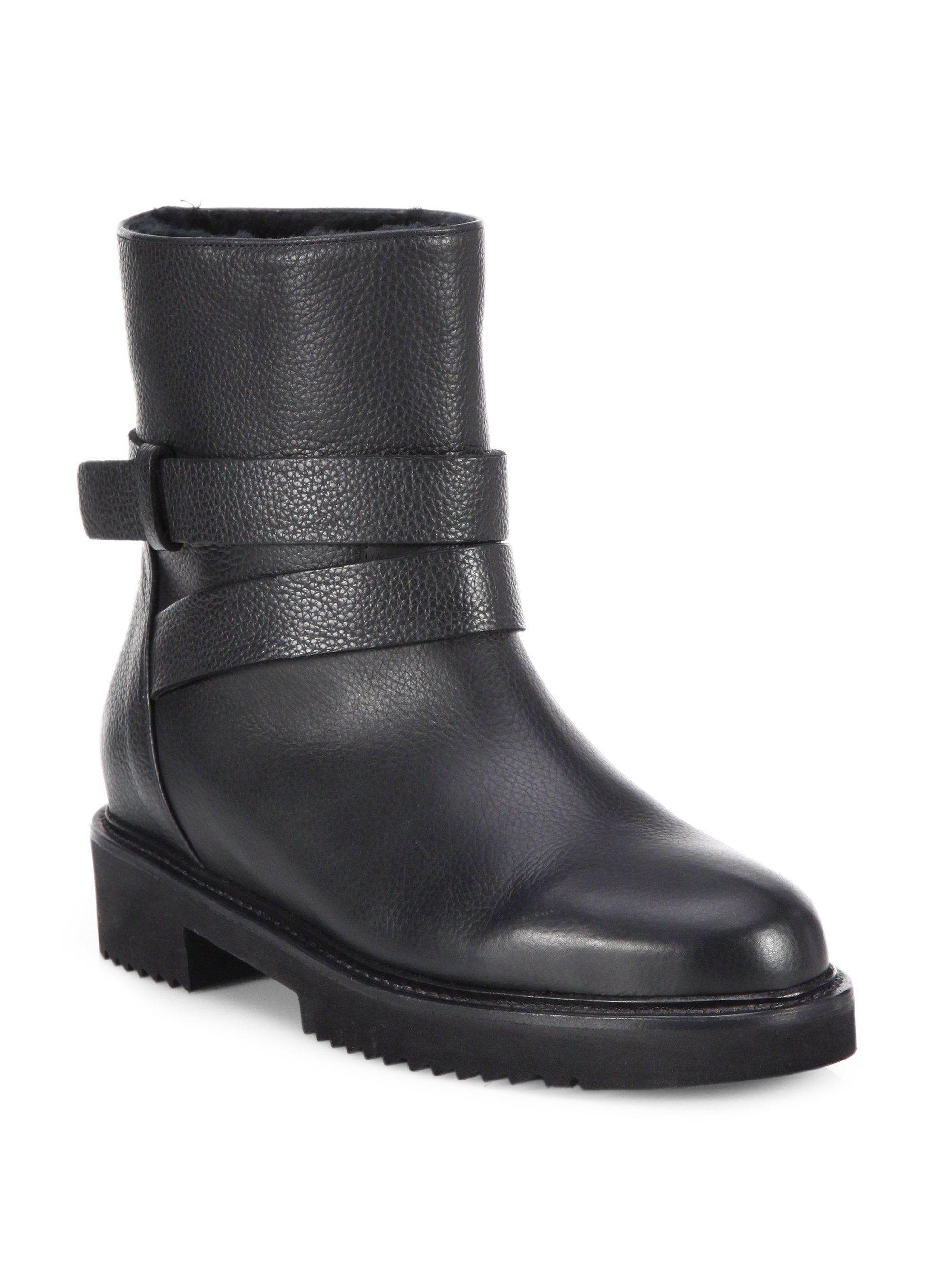 vince cagney shearling lined leather moto boots in black