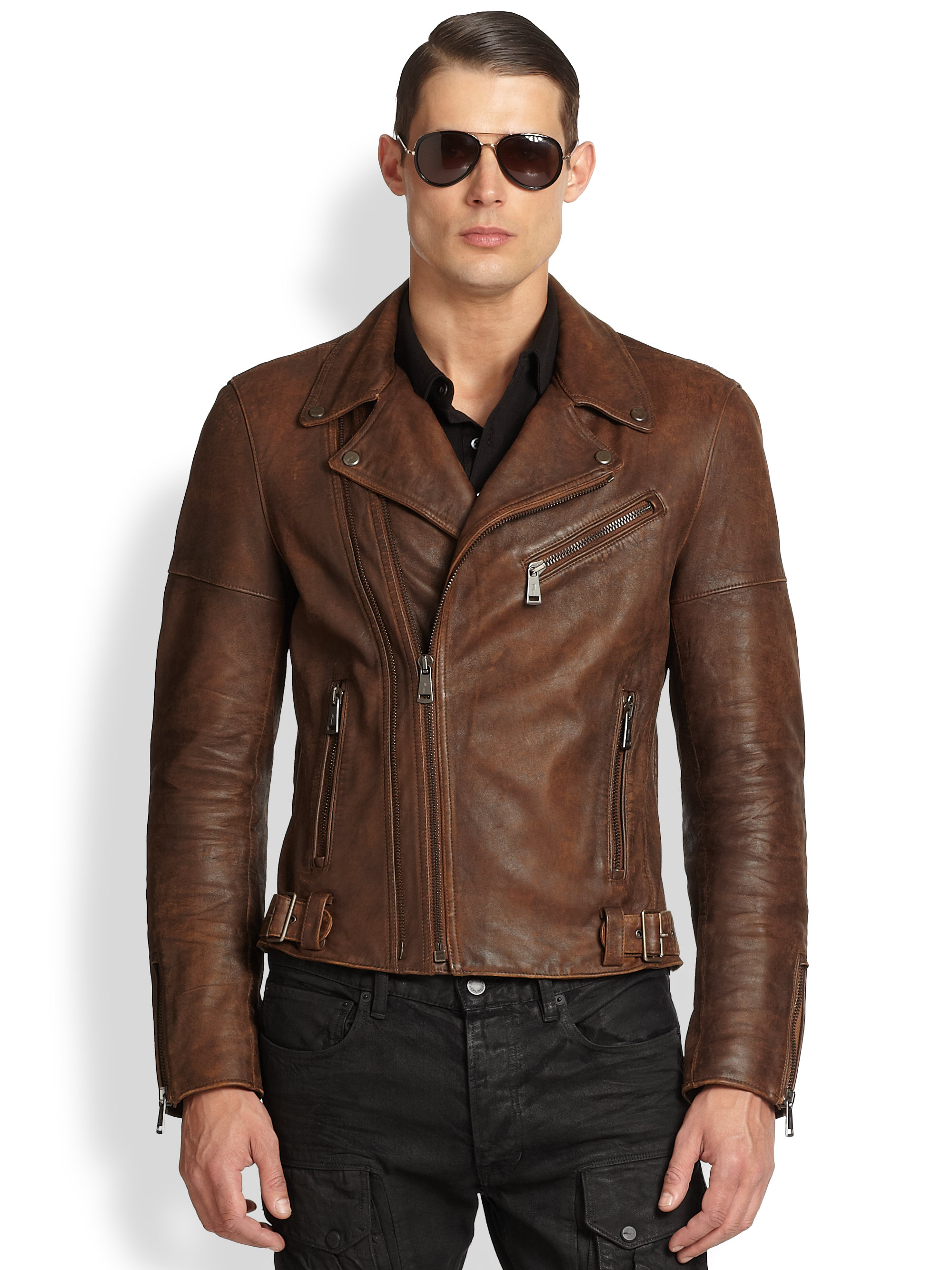 Ralph lauren black label Thunderbolt Leather Biker Jacket in Brown ...