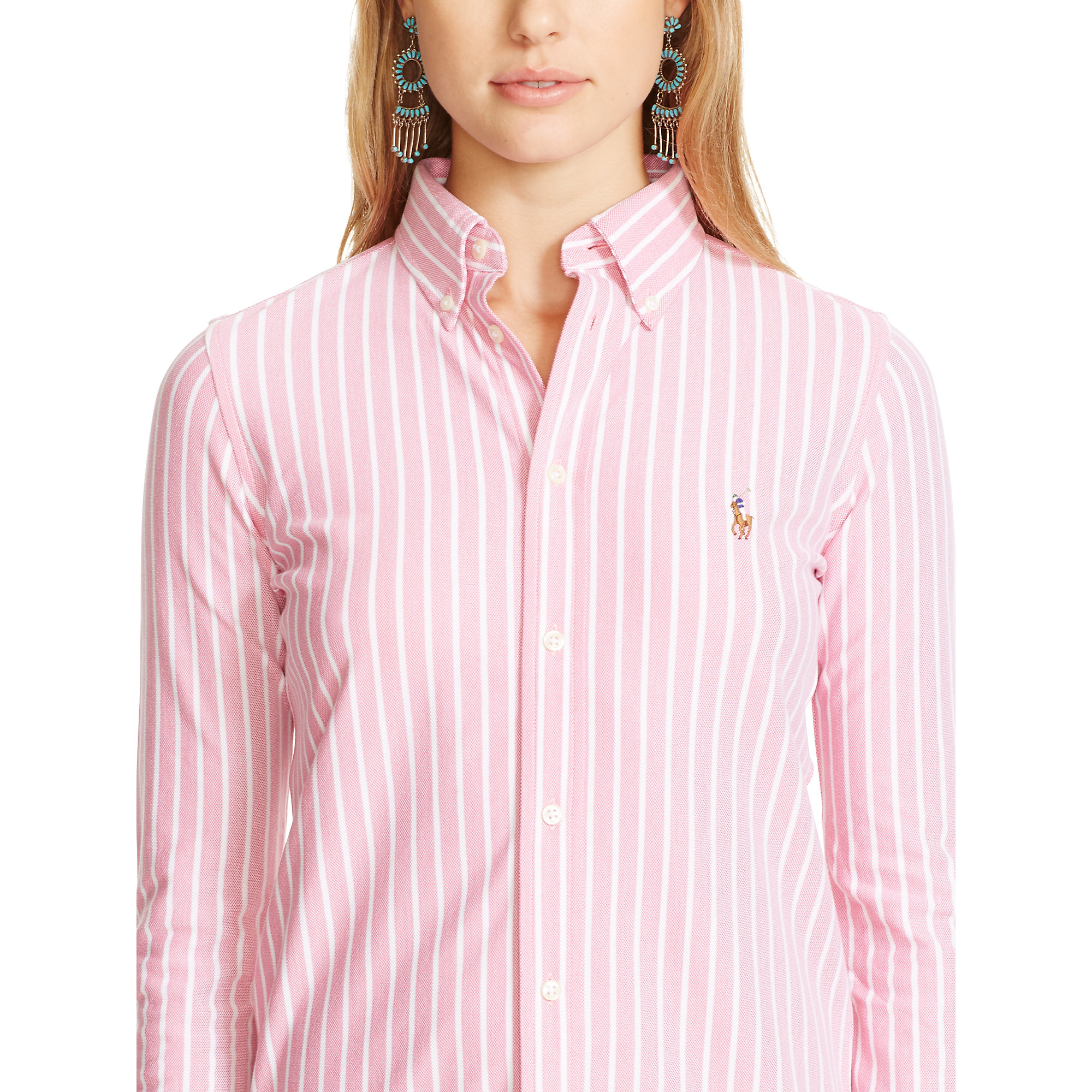 0448518ca Polo Ralph Lauren Striped Knit Oxford Shirt in Pink - Lyst