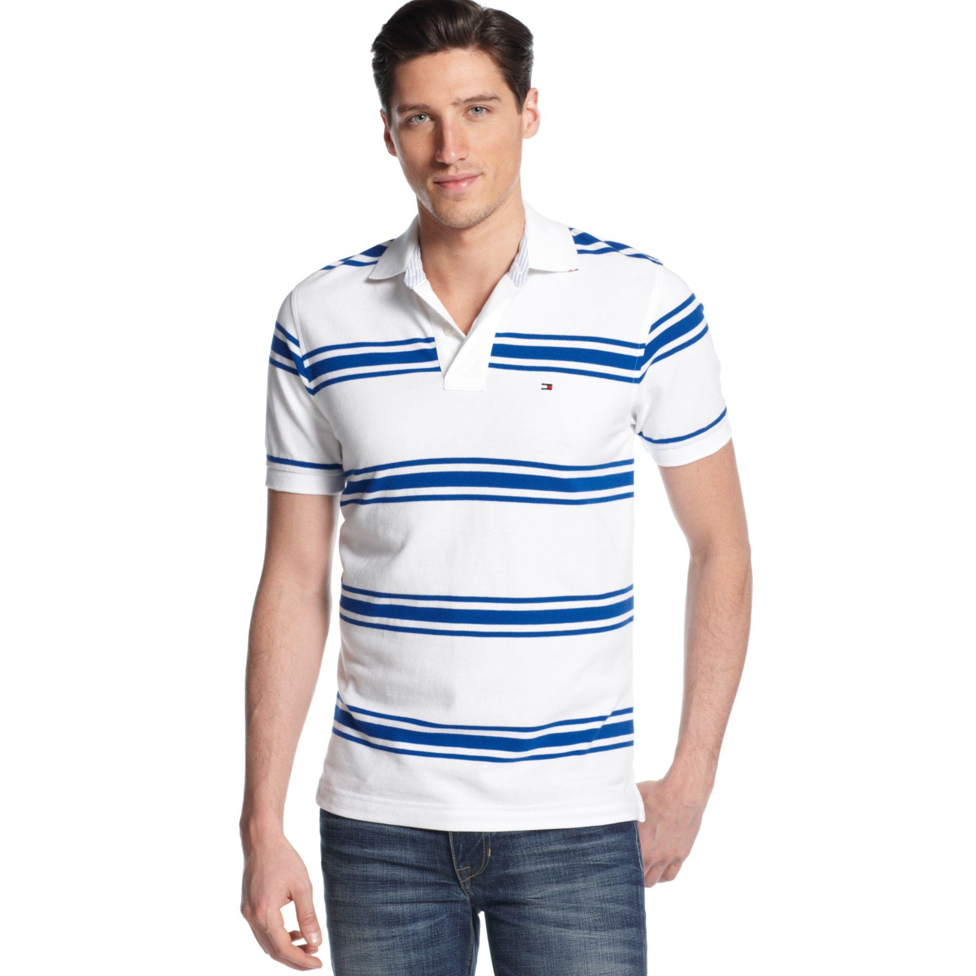 tommy hilfiger crosby striped polo shirt in blue for men. Black Bedroom Furniture Sets. Home Design Ideas