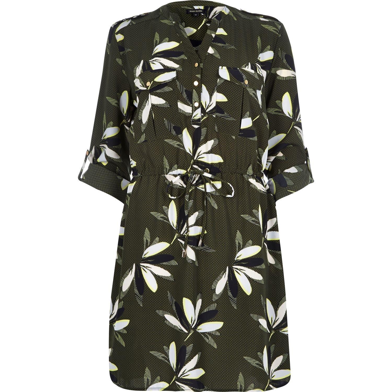 River Island Khaki Print Shirt Dress