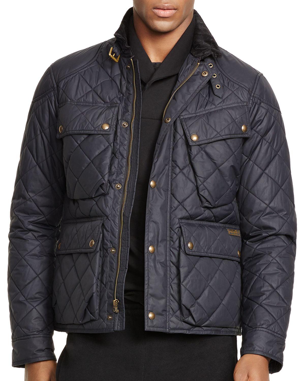 ralph lauren polo quilted bike jacket in black for men polo black. Black Bedroom Furniture Sets. Home Design Ideas