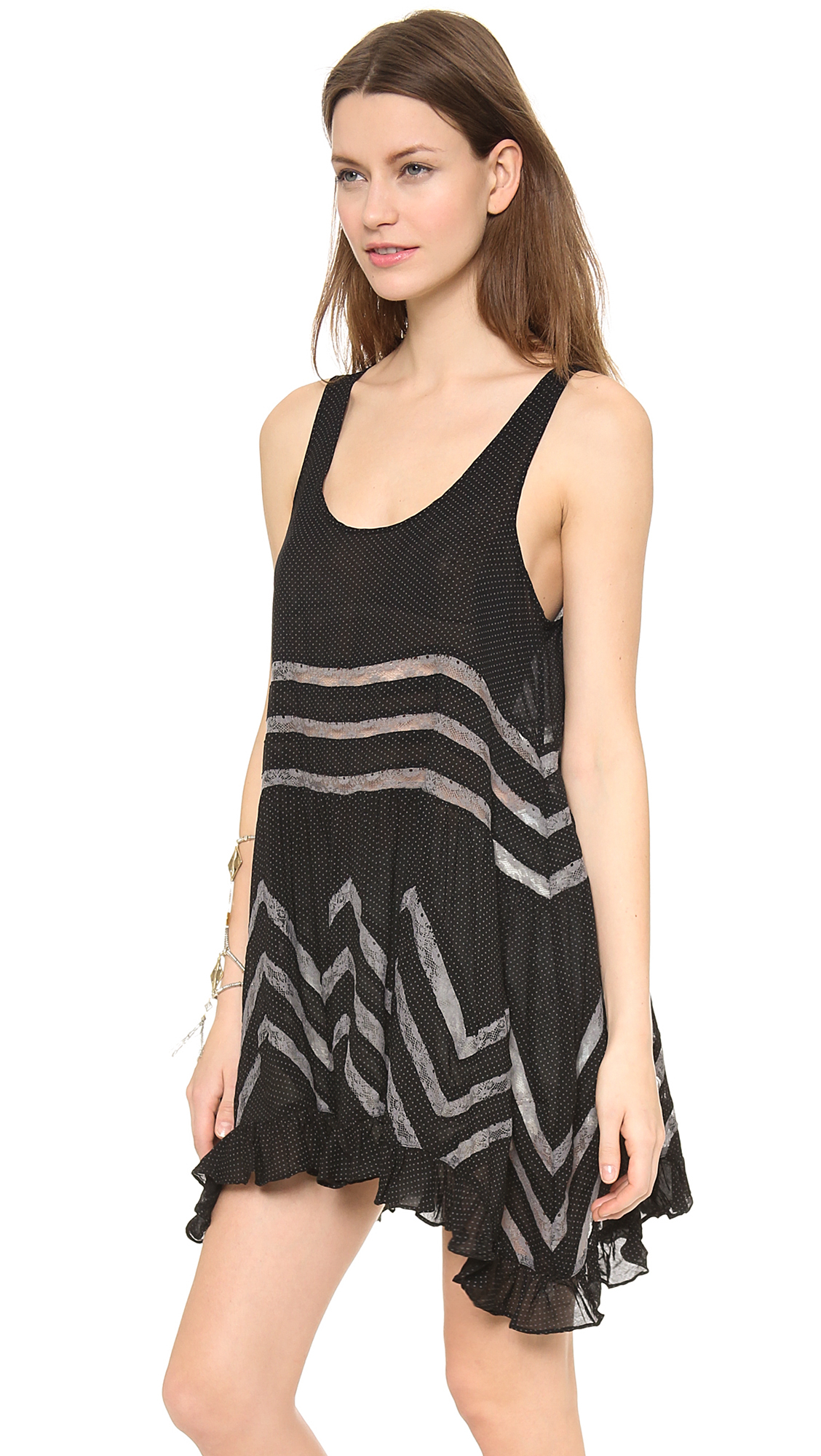 Free People Voile Amp Lace Trapeze Tank In Black Lyst
