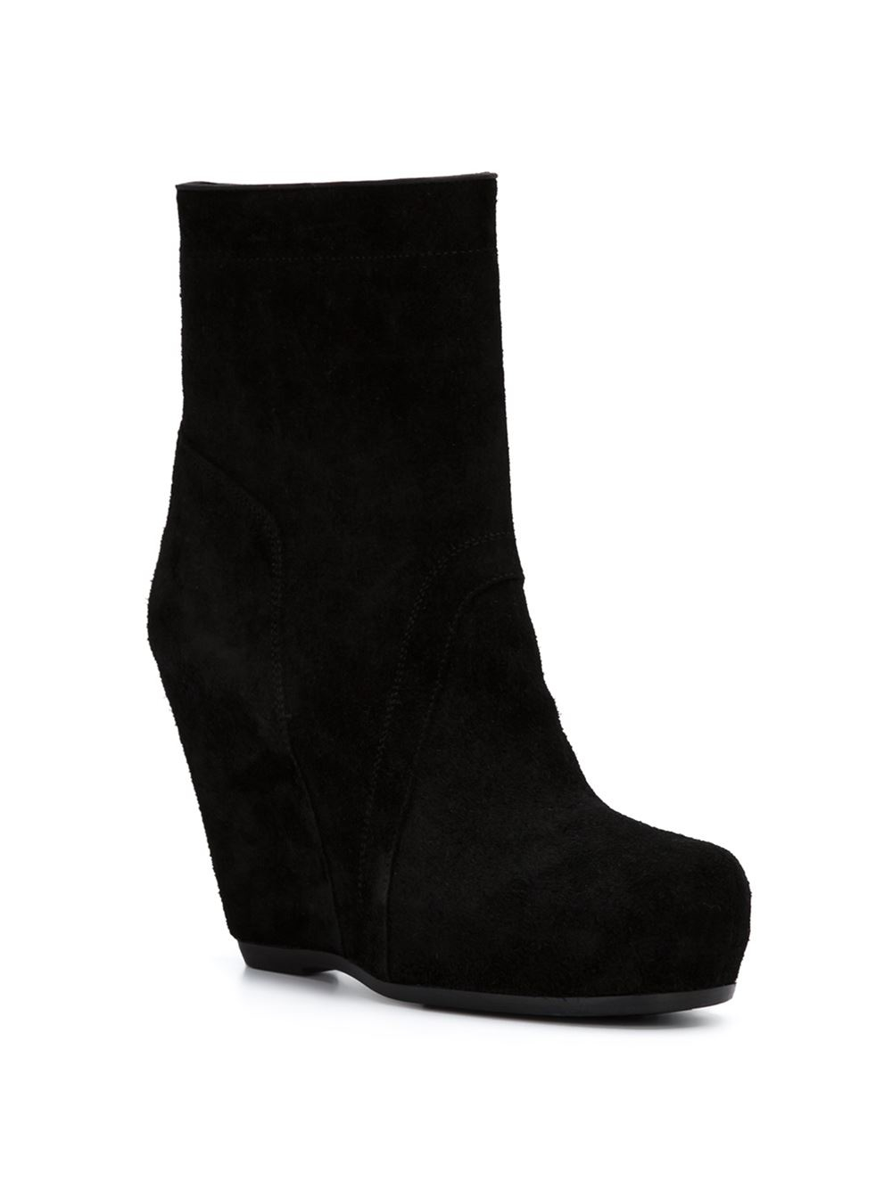 rick owens suede wedge ankle boots in black lyst