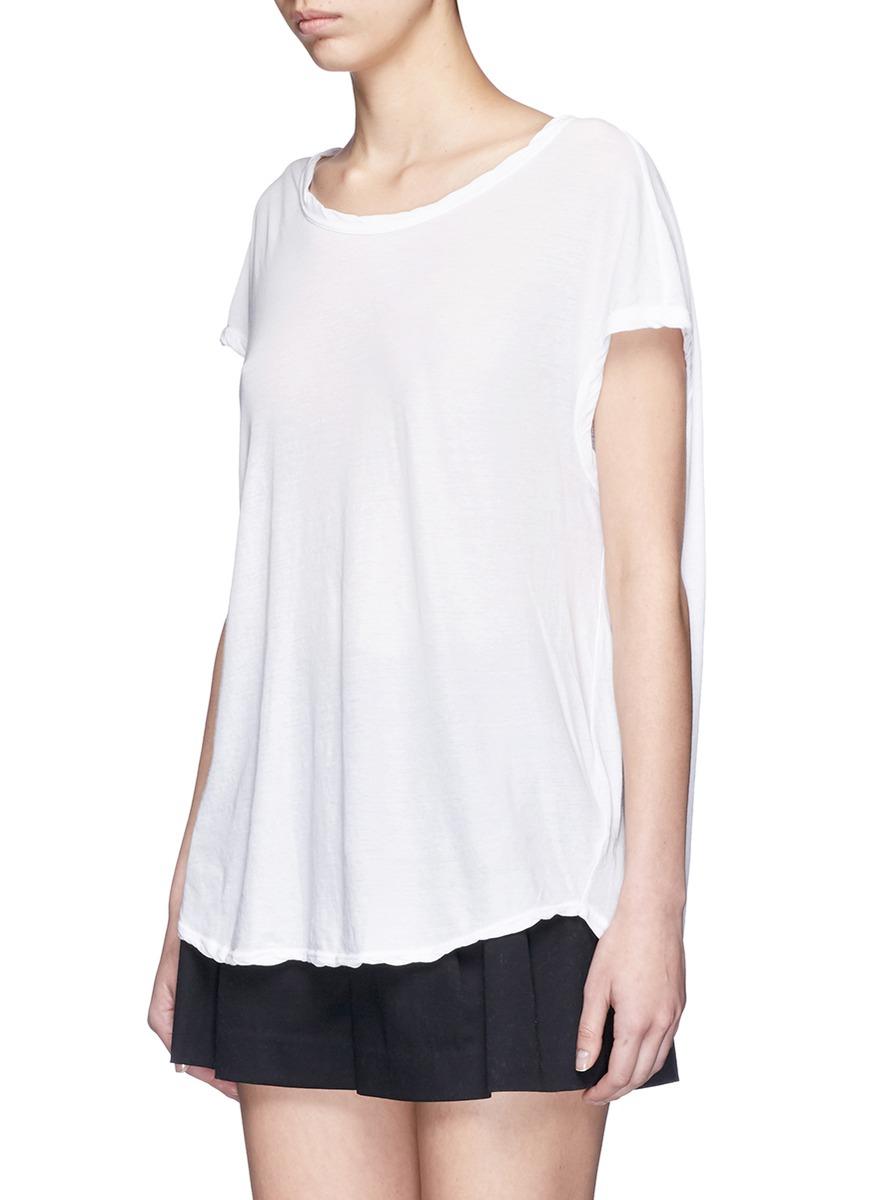 Lyst james perse cotton slub jersey circular shell t for What is a slub shirt