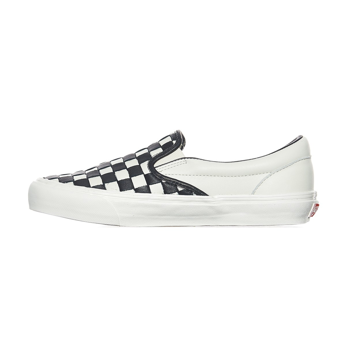 vans classic slip on white suede checkerboard