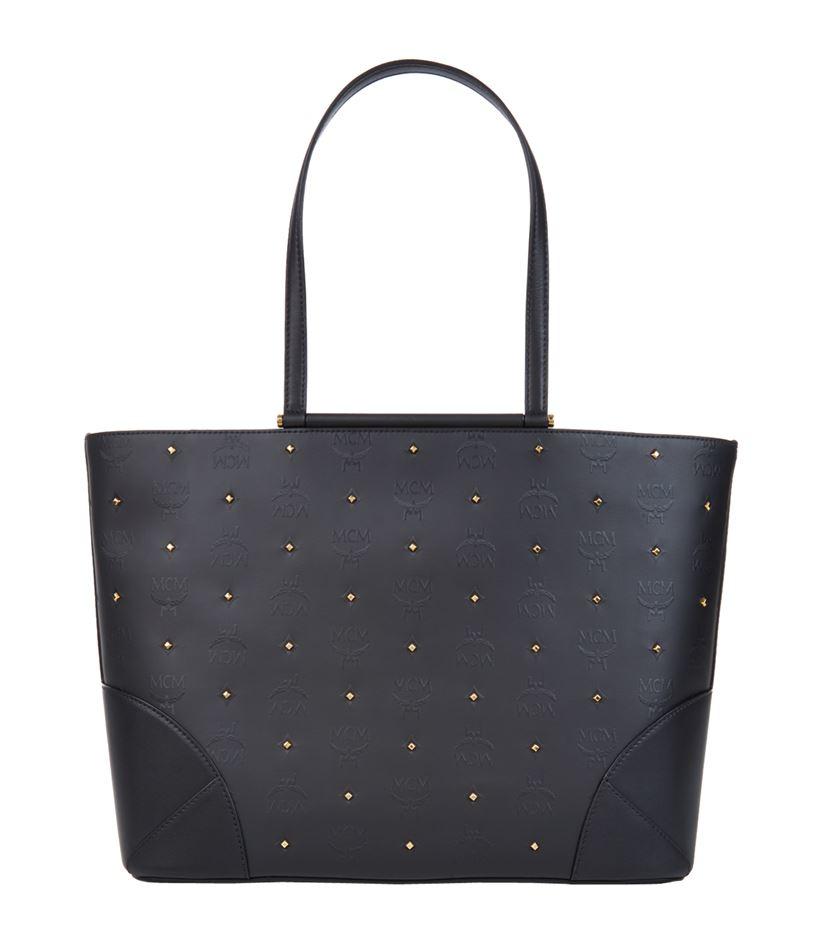 MCM Medium Claudia Studded Shopper in Black - Lyst 8e5d5b7cb233e