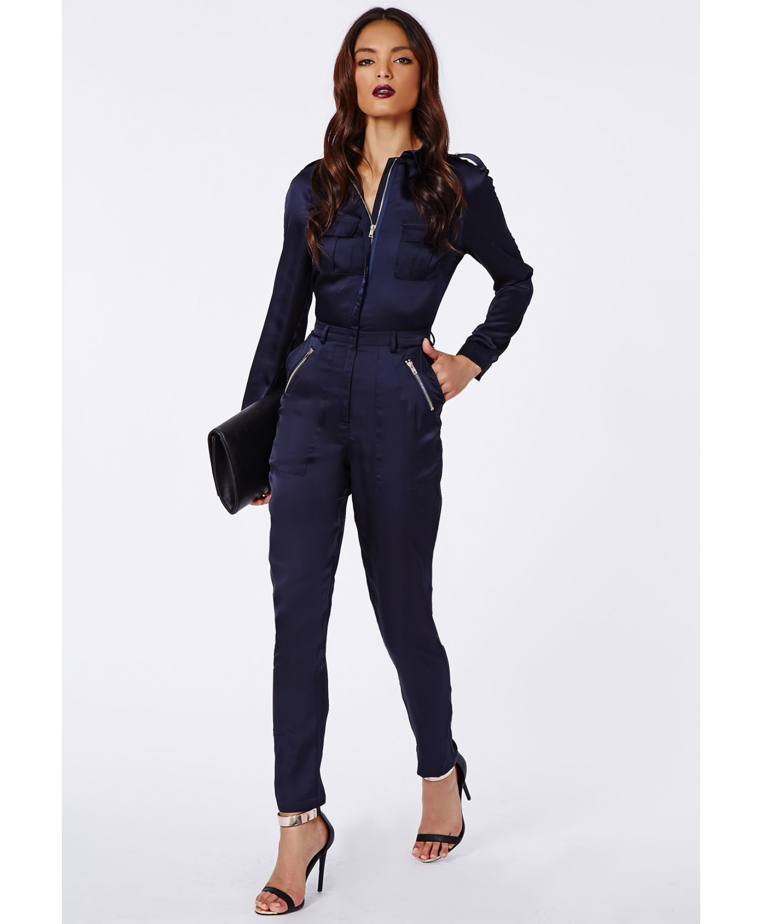 Missguided Annabelle Utility Style Long Sleeve Jumpsuit Navy In Blue
