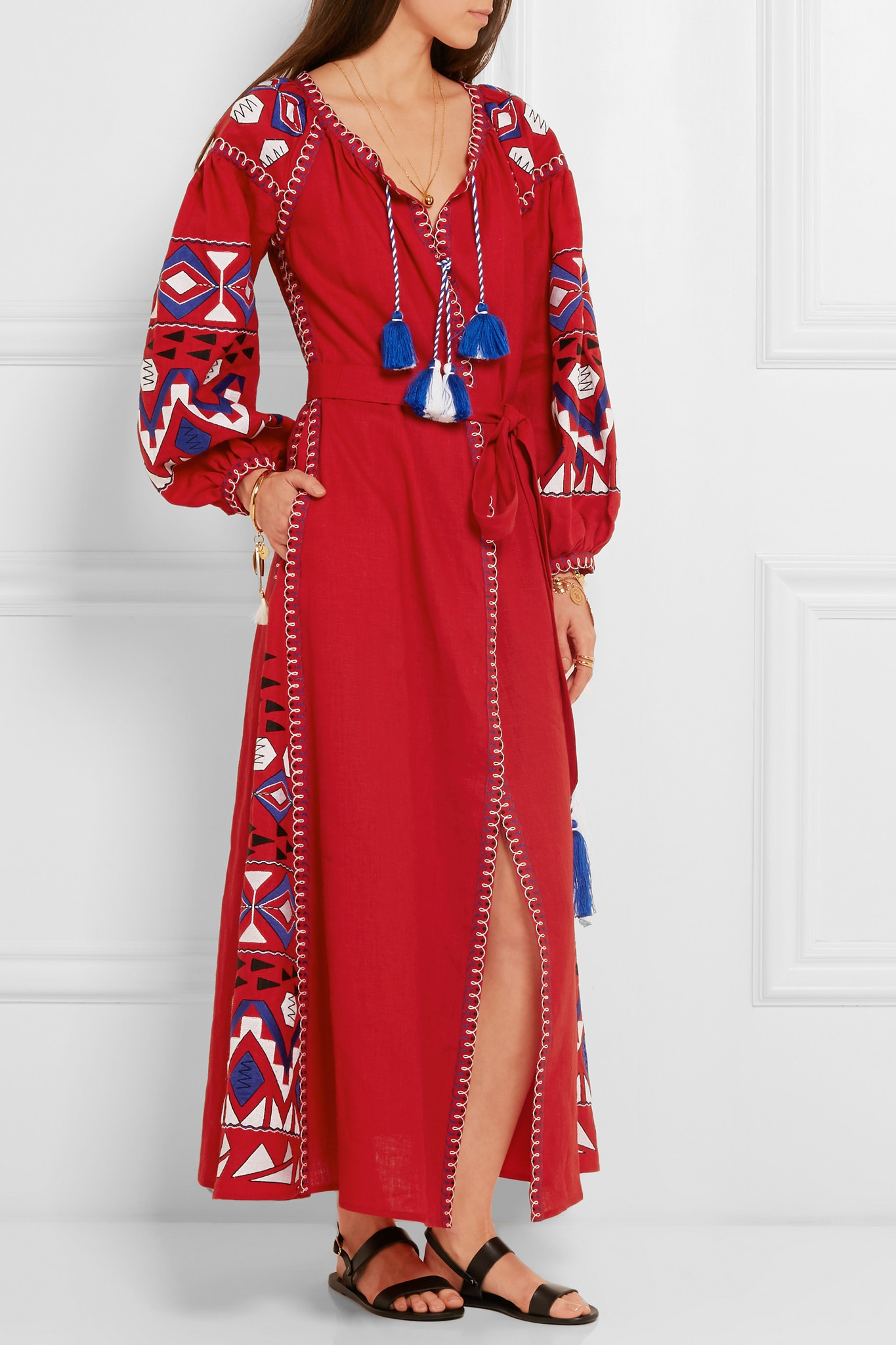 March11 Kilim Embroidered Linen Maxi Dress In Red Lyst