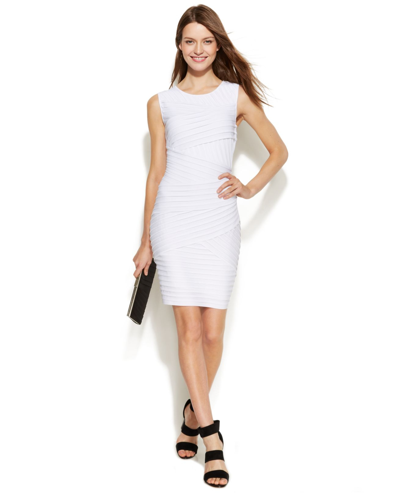 eacbf6c4e786d Lyst - Calvin Klein Sleeveless Bandage Sheath in White