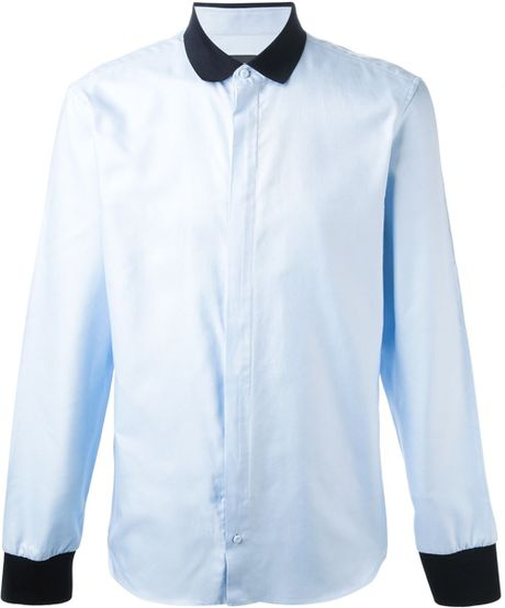 Emporio armani contrast collar and cuffs shirt in blue for for Mens dress shirts with contrasting collars and cuffs