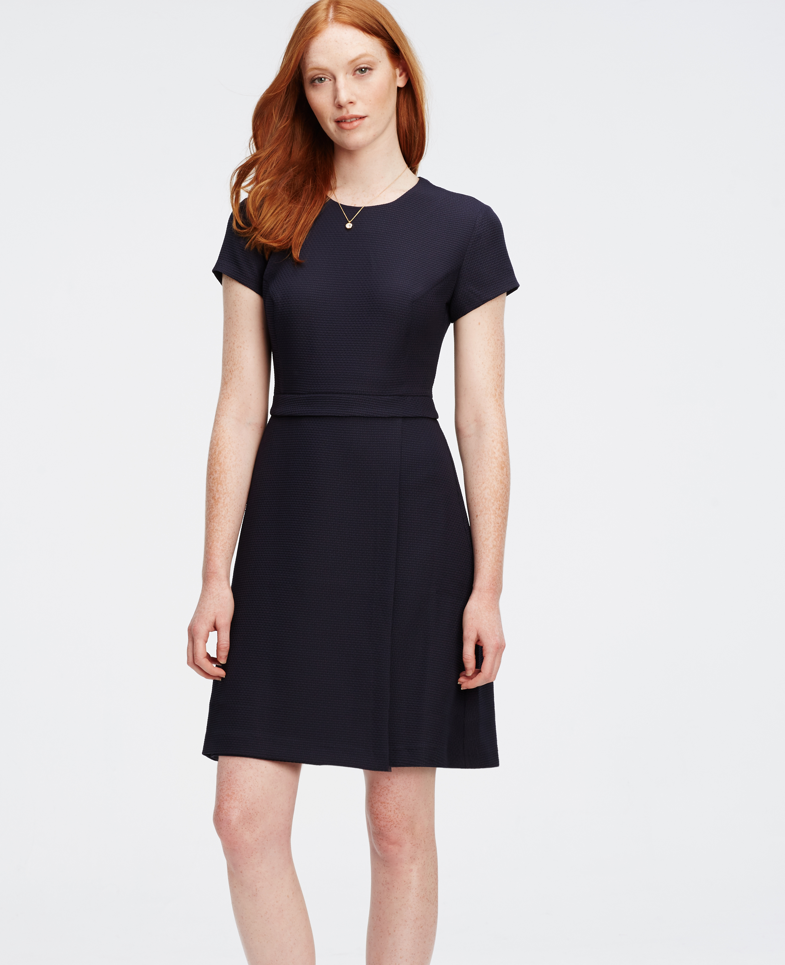 2ee570cb0bbd Ann Taylor Petite Wrap Flare Dress in Blue - Lyst
