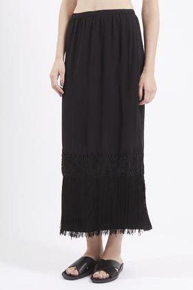 topshop fringe hem maxi skirt in black lyst