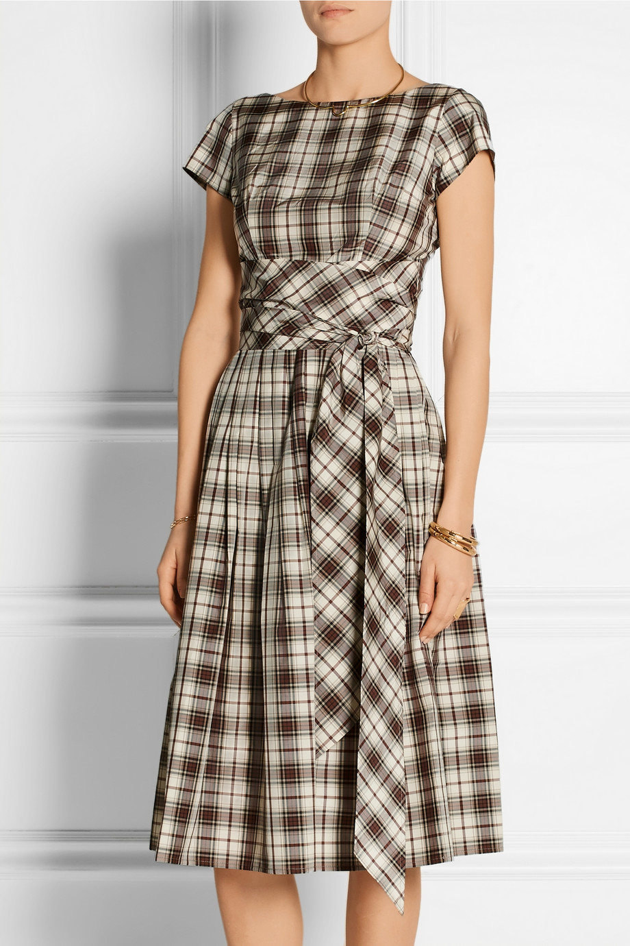Lyst Michael Kors Plaid Tie Waist Midi Dress In Brown