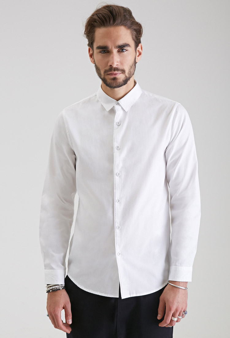 Forever 21 Classic Collared Button-down Shirt in White for Men | Lyst