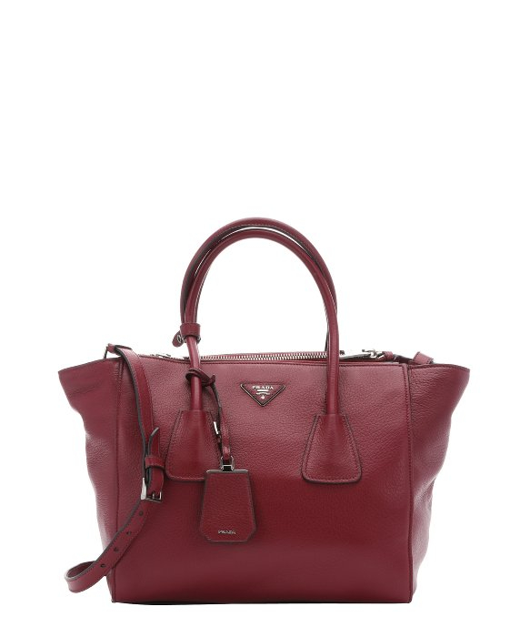 Prada Burgundy Leather Twin Pocket Convertible Tote Bag in Purple ...
