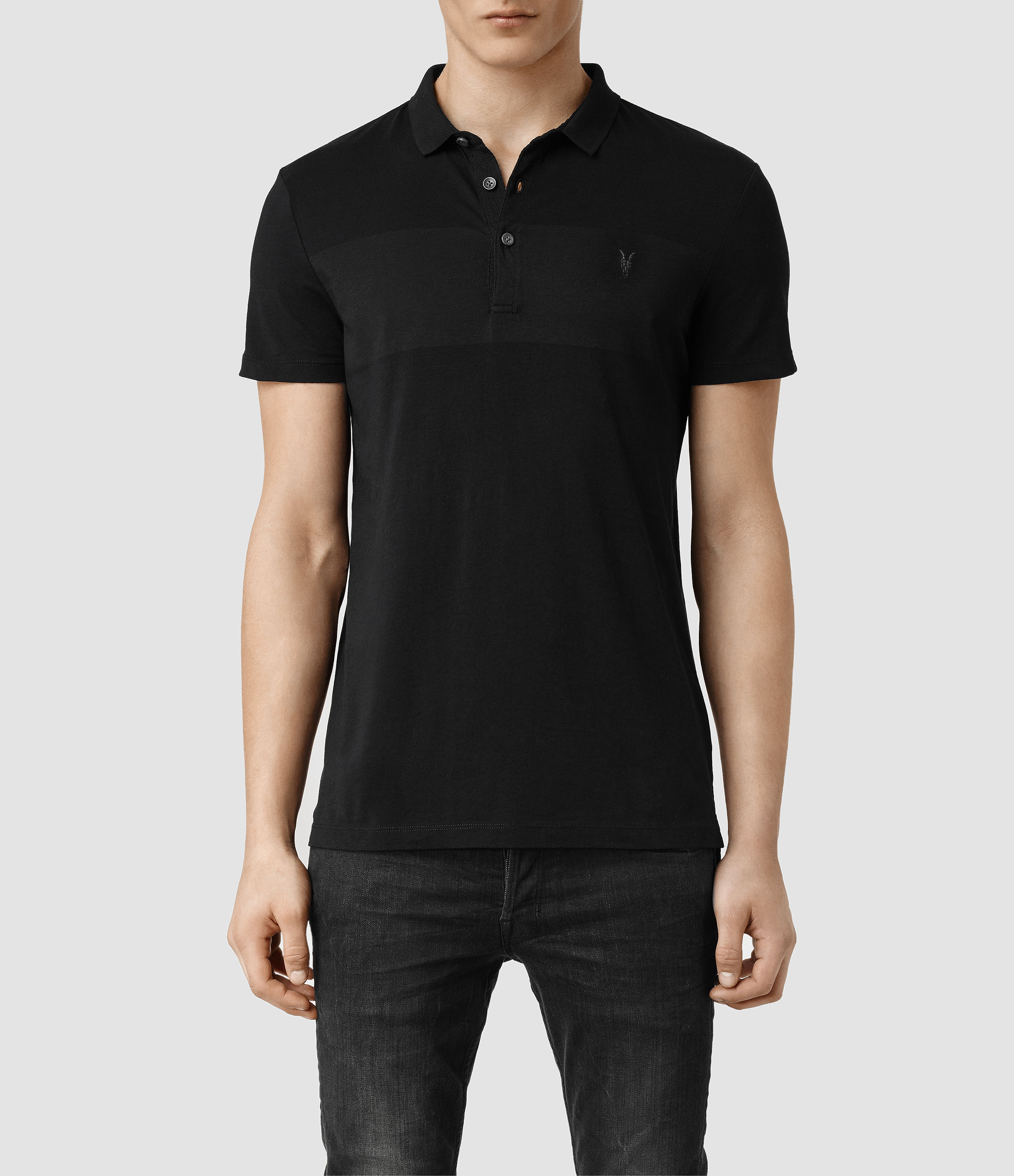 allsaints riordan polo in black for men ink jet black lyst. Black Bedroom Furniture Sets. Home Design Ideas