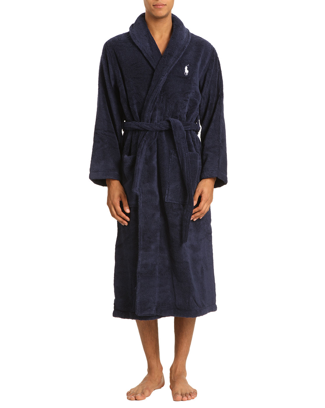 polo ralph lauren dark blue bath robe shawl collar in blue for men lyst. Black Bedroom Furniture Sets. Home Design Ideas