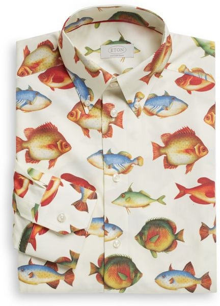 Eton contemporaryfit fish print dress shirt in multicolor for Fish print dress