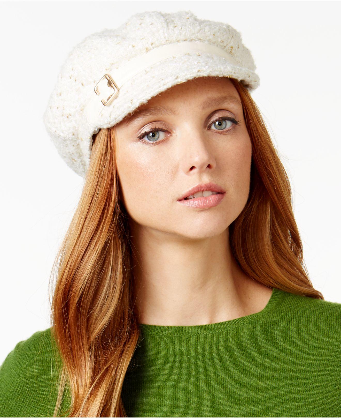 eba719ba4e2 Lyst - Nine West Novelty Metallic Newsgirl Hat in White