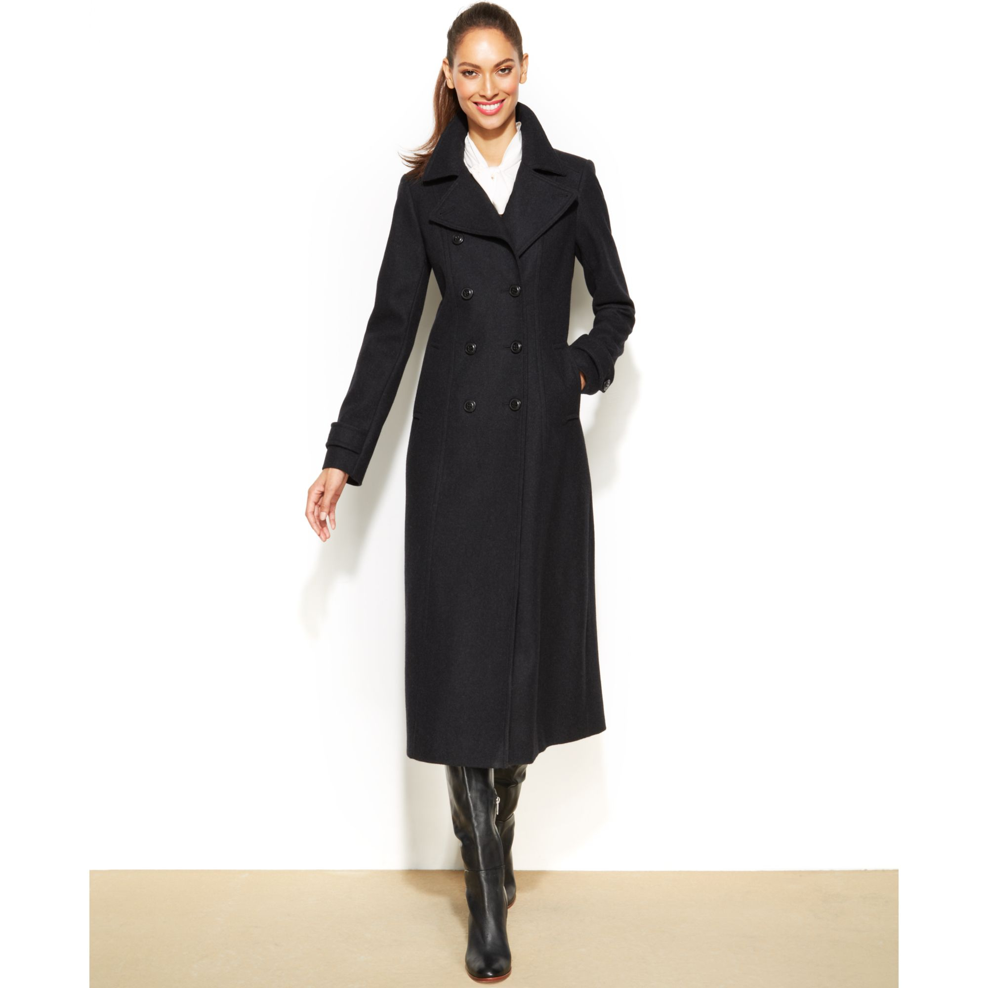 Dkny Petite Double-Breasted Wool-Blend Maxi Coat in Gray (Charcoal