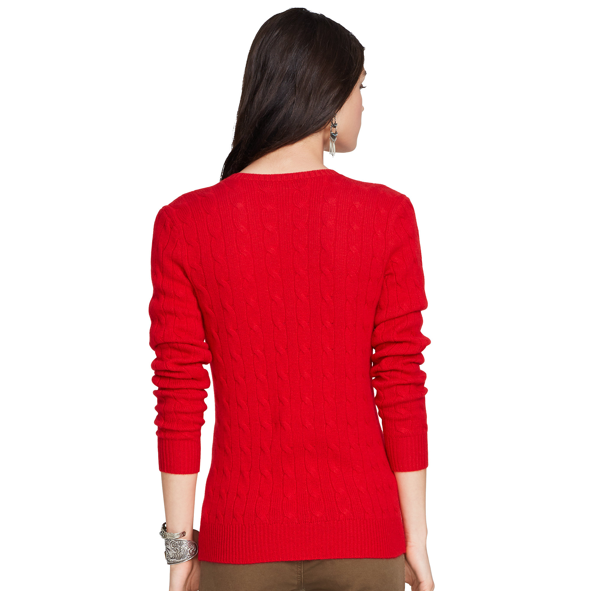 Polo Ralph Lauren Cabled Cashmere V Neck Sweater In Red Lyst