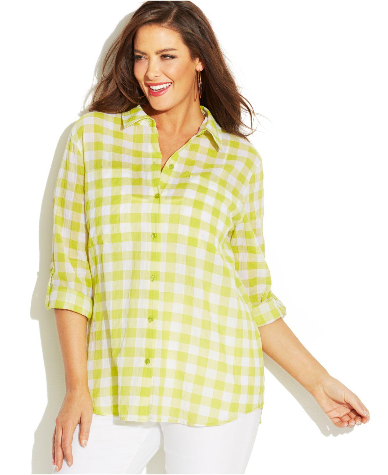 02046b2e176 Lyst - Michael Kors Michael Plus Size Tab-Sleeve Gingham Shirt in Green