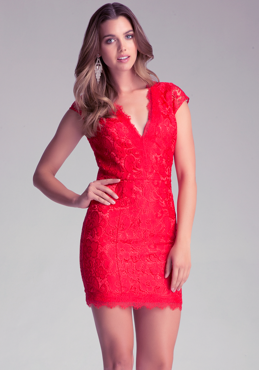 4008ca4bb6 Bebe Vneck Lace Dress in Red - Lyst