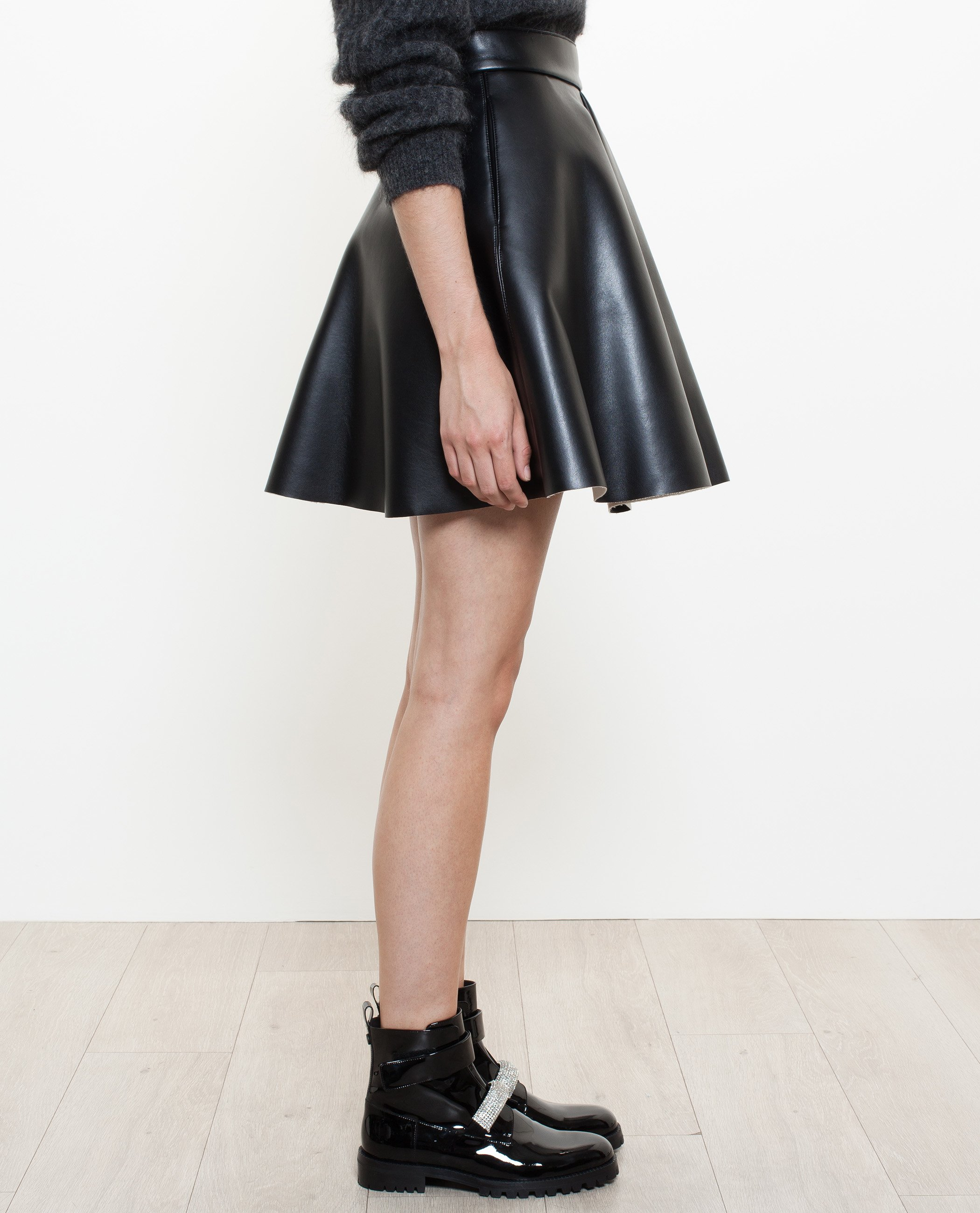 Msgm Faux Leather Skirt in Black | Lyst
