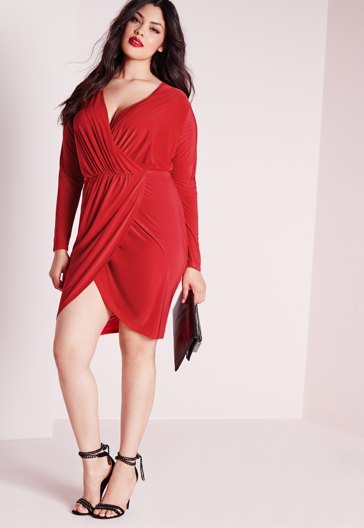 Missguided Plus Size Slinky Wrap Dress Red in Red - Lyst