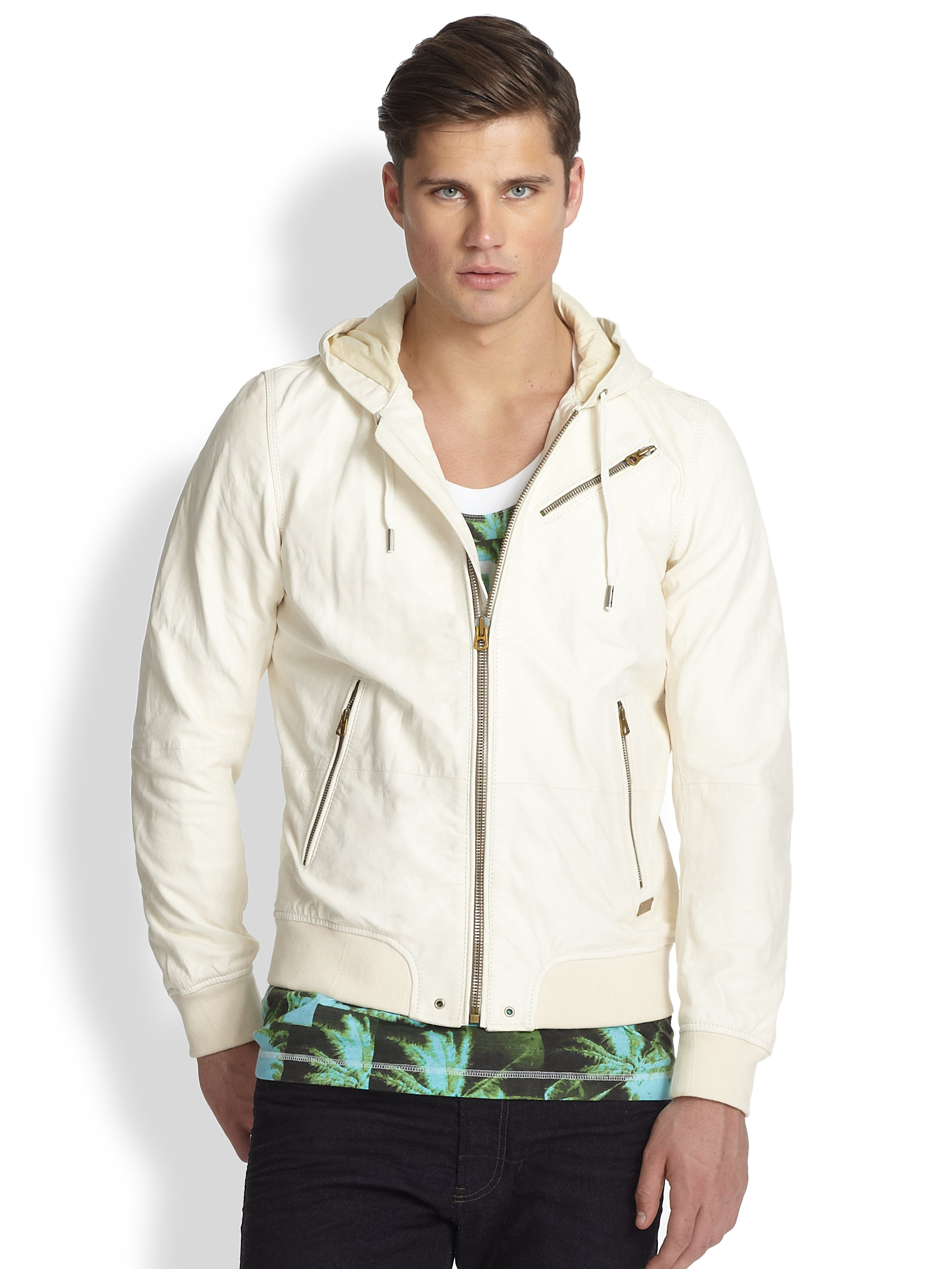 White leather jacket for men