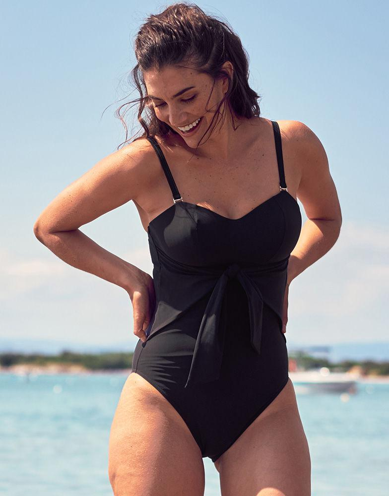 2a3cb987f Figleaves. Women s Icon Sienna Underwired Bow Front Black Swimsuit D-g Cup