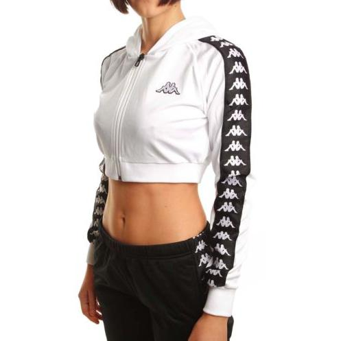 2f143368168 Kappa Women 222 Banda Arakli Crop Hooded Jacket, White/ Black in ...