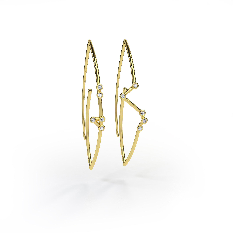 Jessie V E Cancer Constellation Hoop Earrings AVZAxN