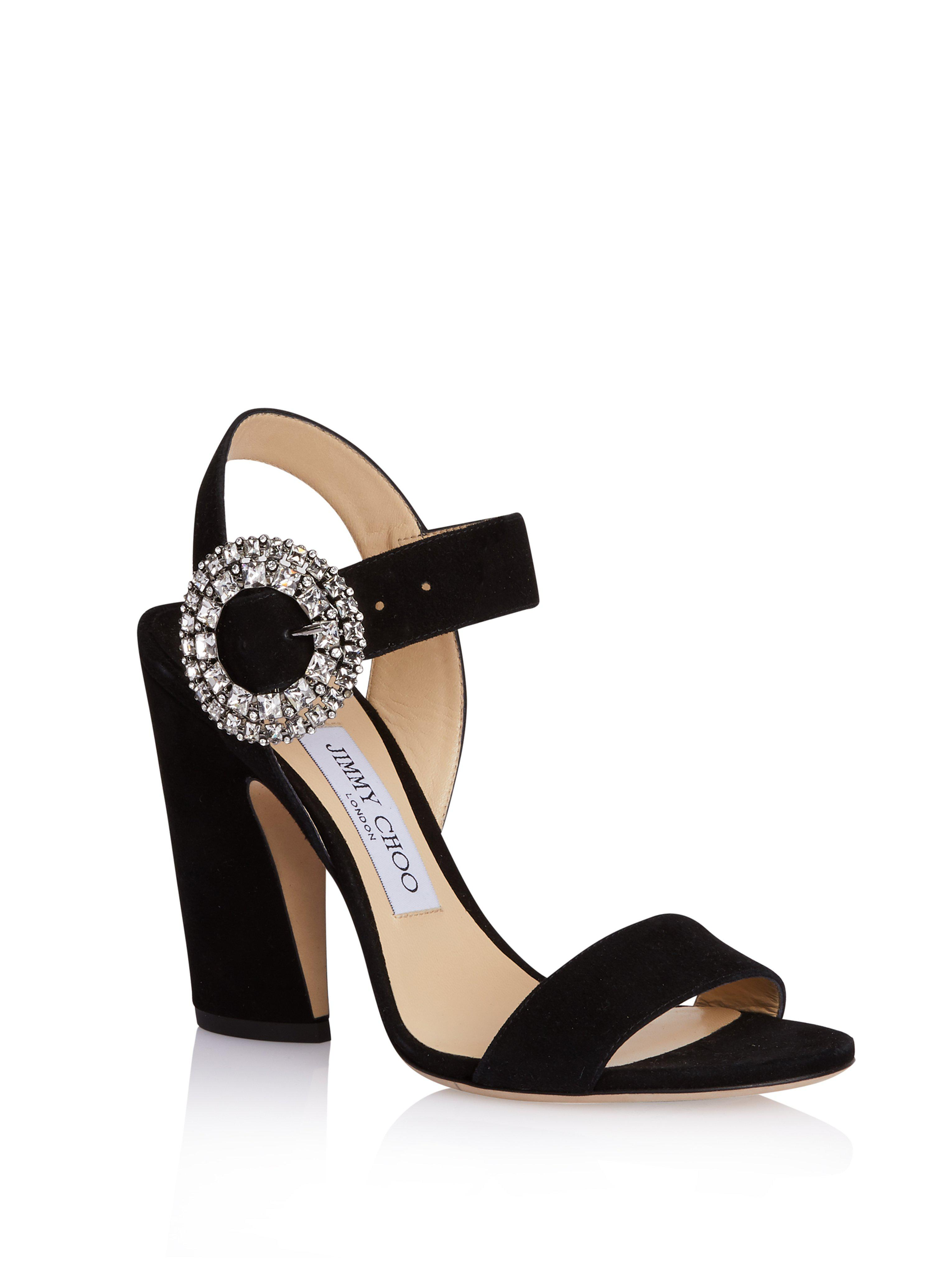 04a53684745e Lyst - Jimmy Choo Mischa 85 Crystal Buckle Sandals in Black
