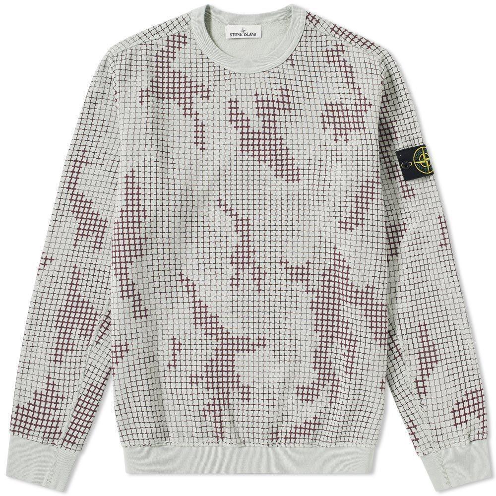 1e5f3e3af069f Stone Island Digital Camo Grid Sweatshirt By in Gray for Men - Lyst
