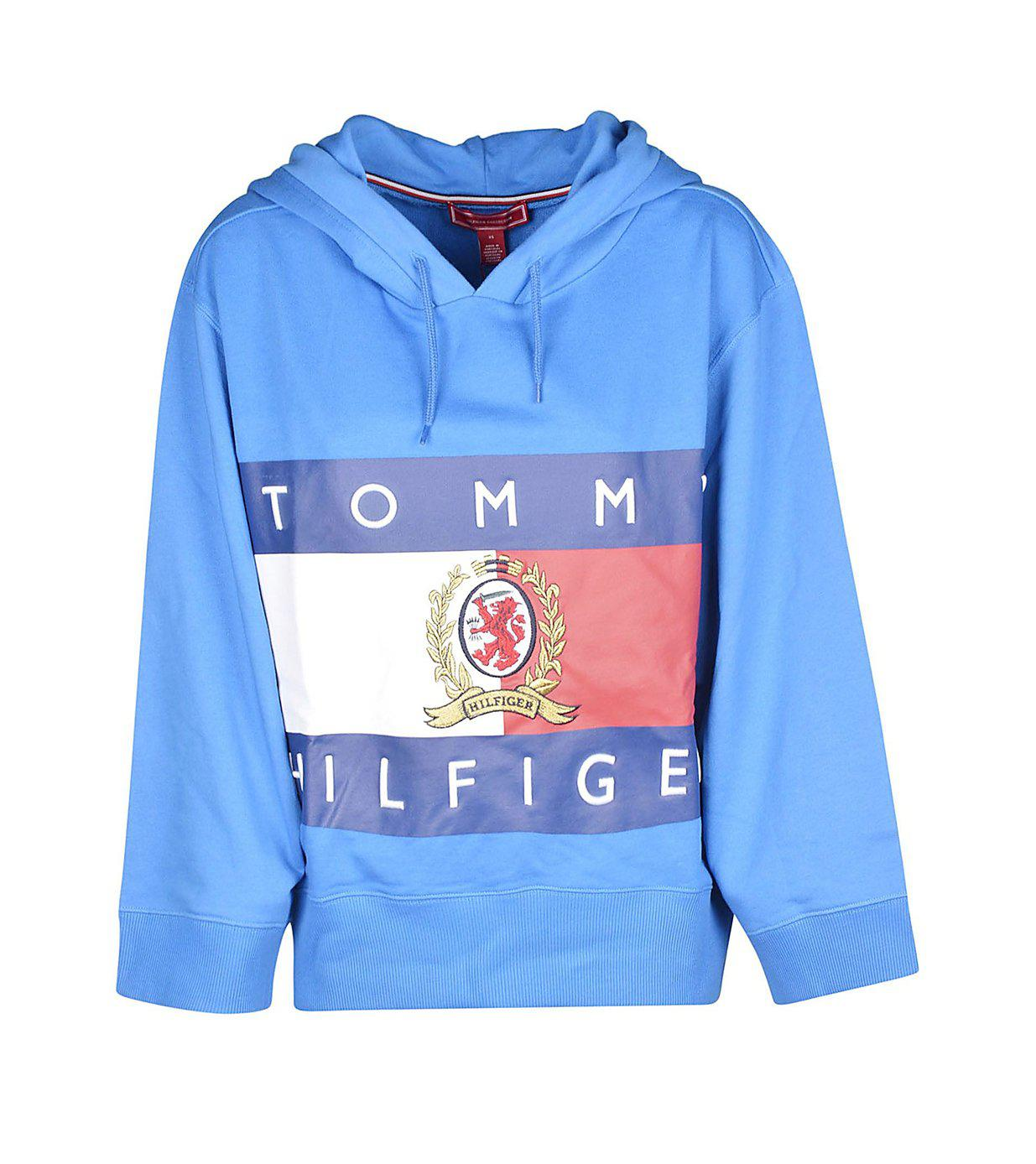 2338f3dfe7 Tommy Hilfiger Vintage Logo Cropped Hoodie By in Blue for Men - Lyst
