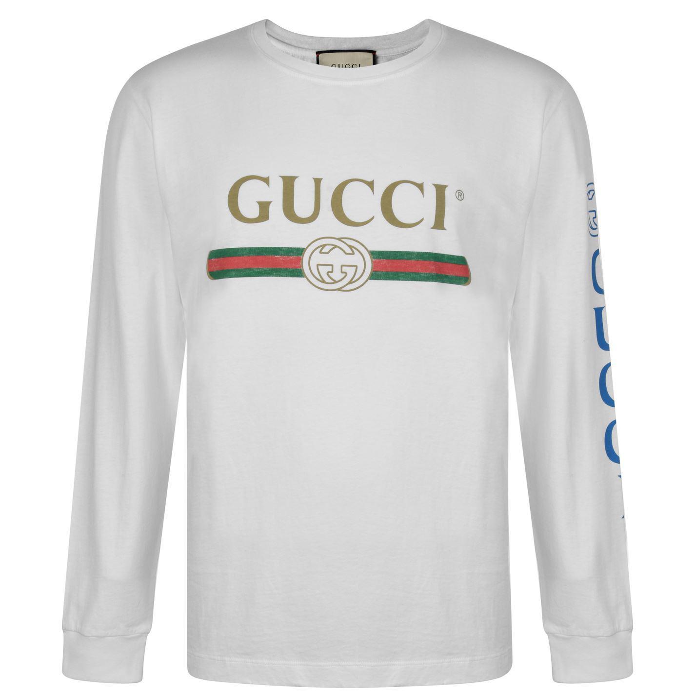 31913616df0 Gucci - White Fake Logo Long Sleeved T Shirt for Men - Lyst. View fullscreen