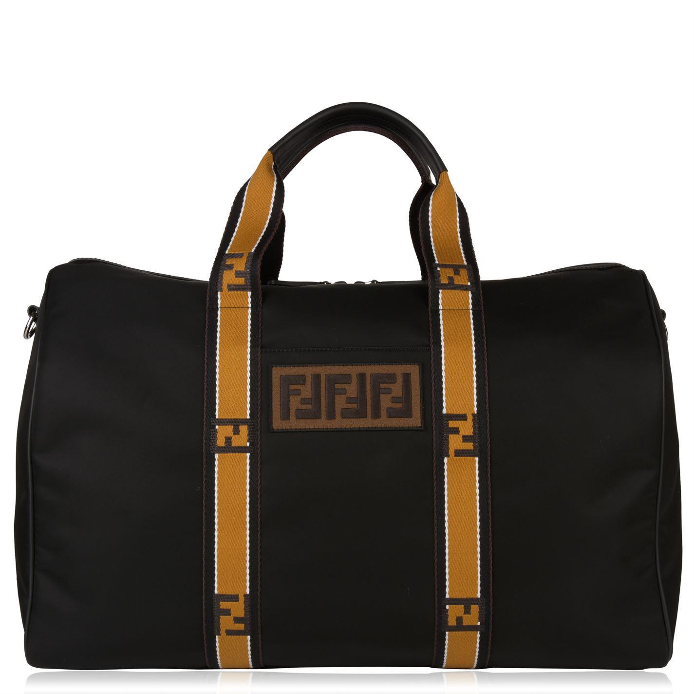 50195bab363b Fendi Logo Tape Duffle Bag in Black for Men - Lyst