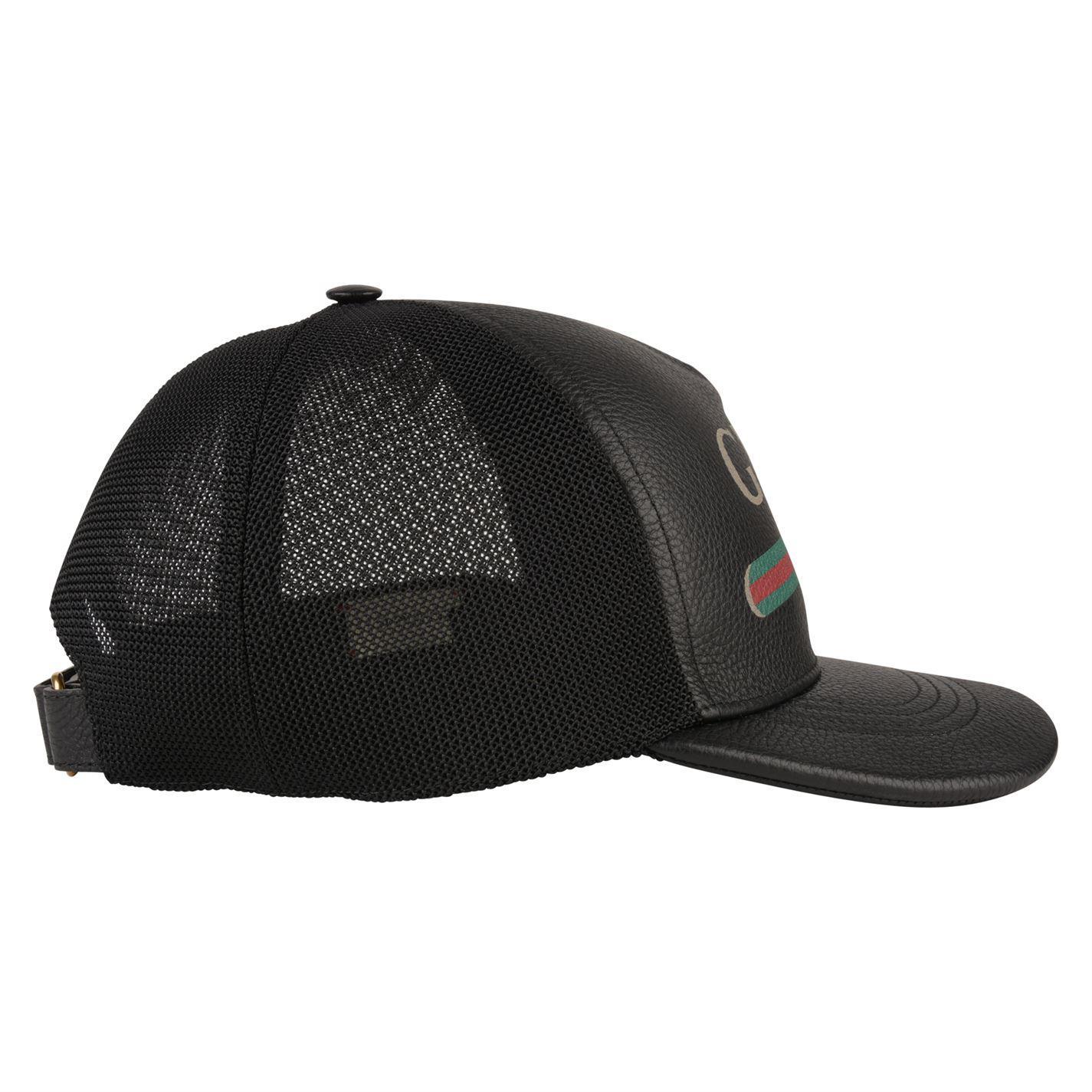7e4f9675b1c Gucci - Black Logo-print Leather And Mesh Baseball Cap for Men - Lyst. View  fullscreen