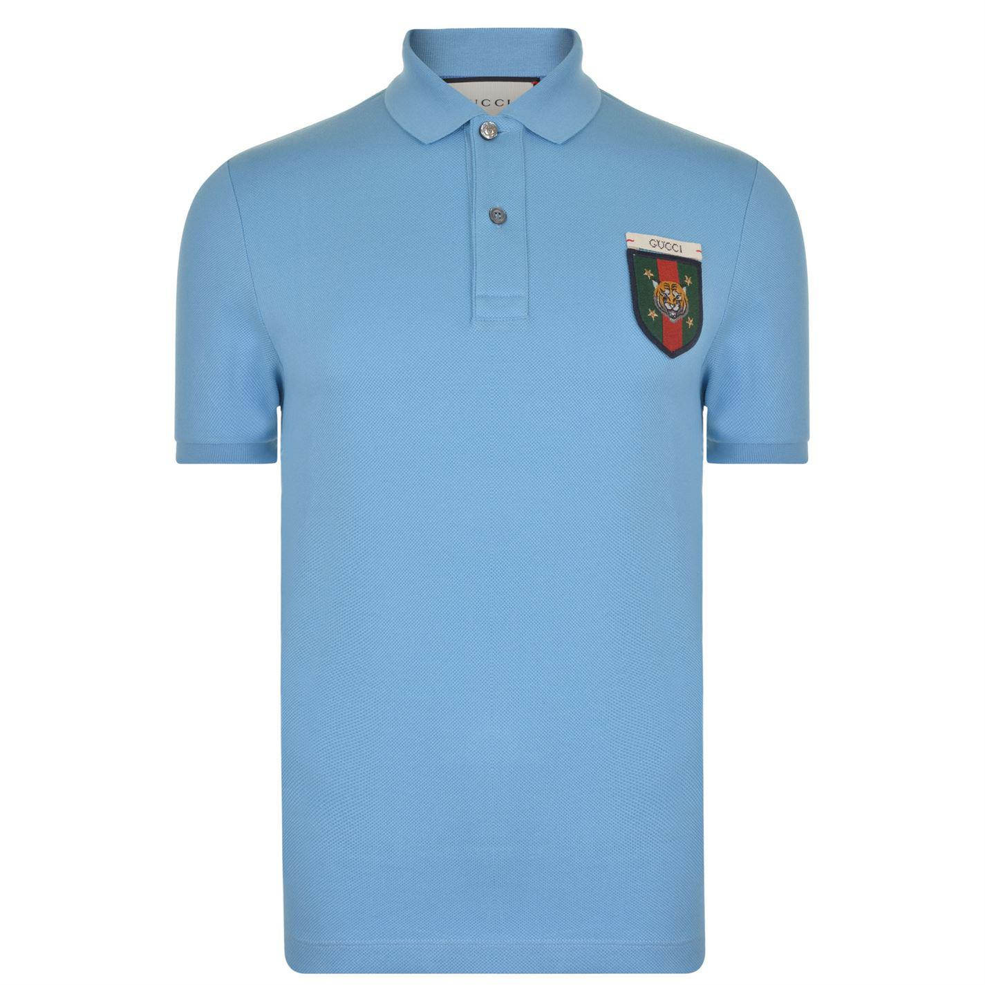 8cf46d292e65 Gucci Tiger Patch Polo Shirt in Blue for Men - Lyst