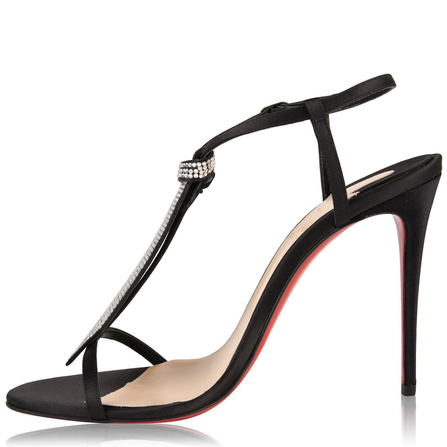 ed63ecf5c41 Christian Louboutin - Black T Cab Satin Crepe Heeled Sandals - Lyst. View  fullscreen