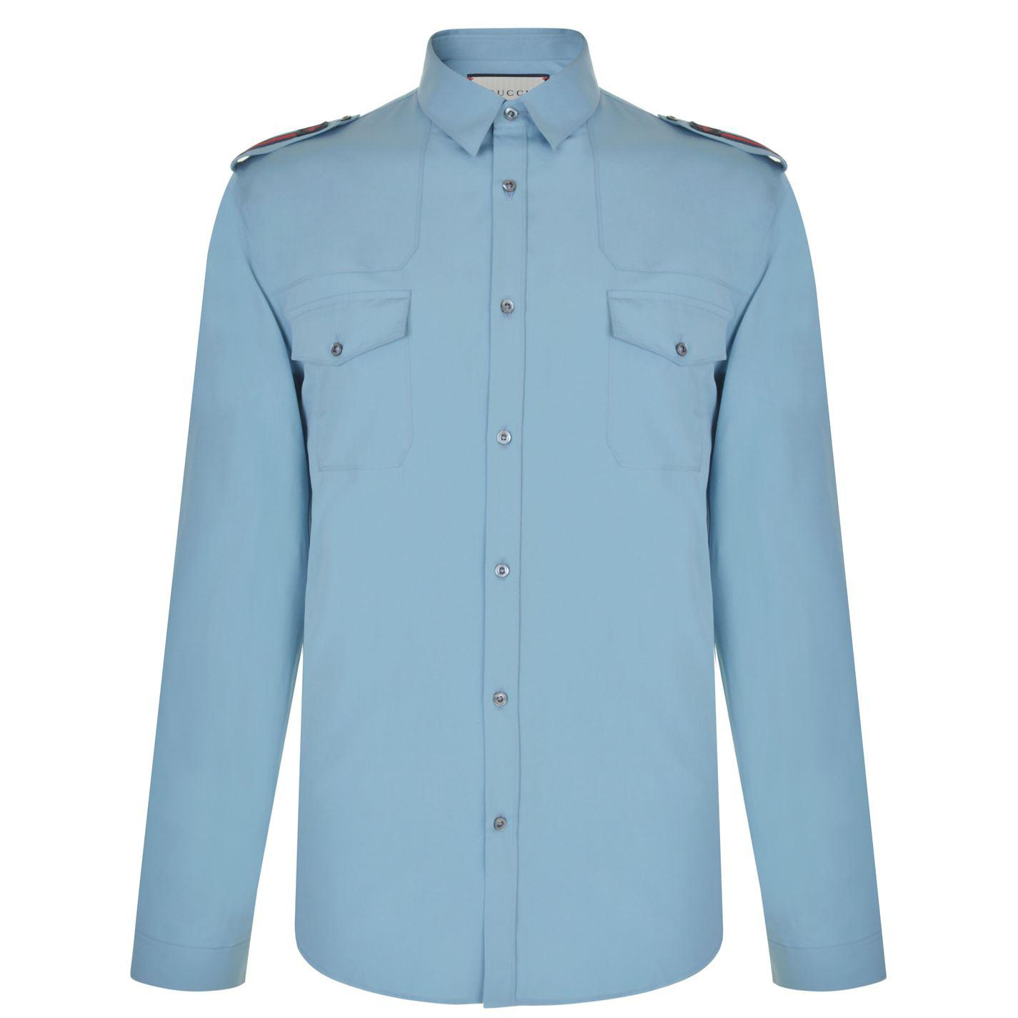 235838b39 Gucci Bee Patch Duke Shirt in Blue for Men - Lyst