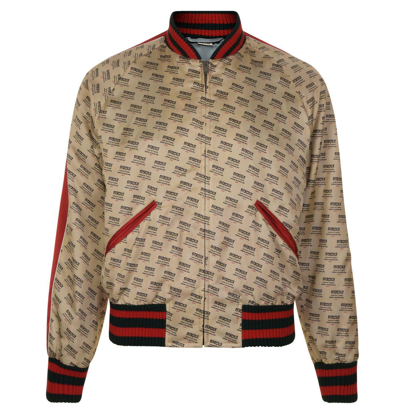 e9ba56c83 Gucci - White Baseball Stamp Print Bomber Jacket for Men - Lyst. View  fullscreen