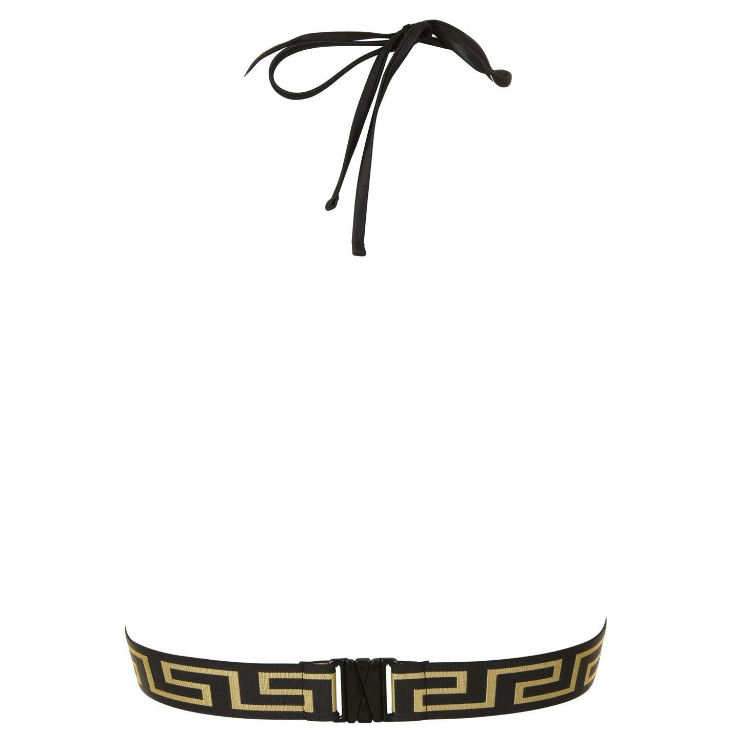 63d5739dfc Versace Greca Band Bikini Top in Black - Lyst