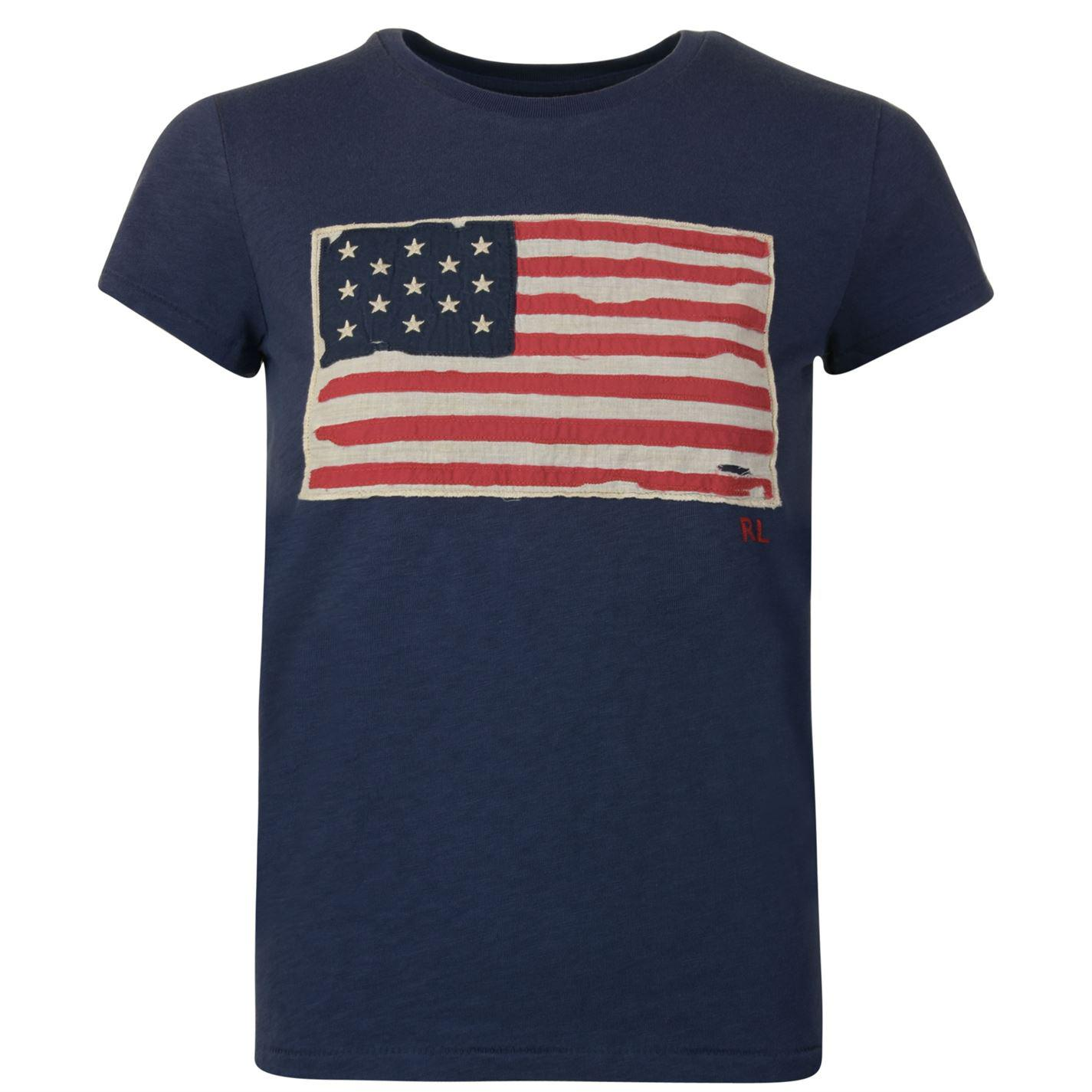 d1ce53d3e Lyst - Polo Ralph Lauren Blue T-shirt With American Flag Patch in ...