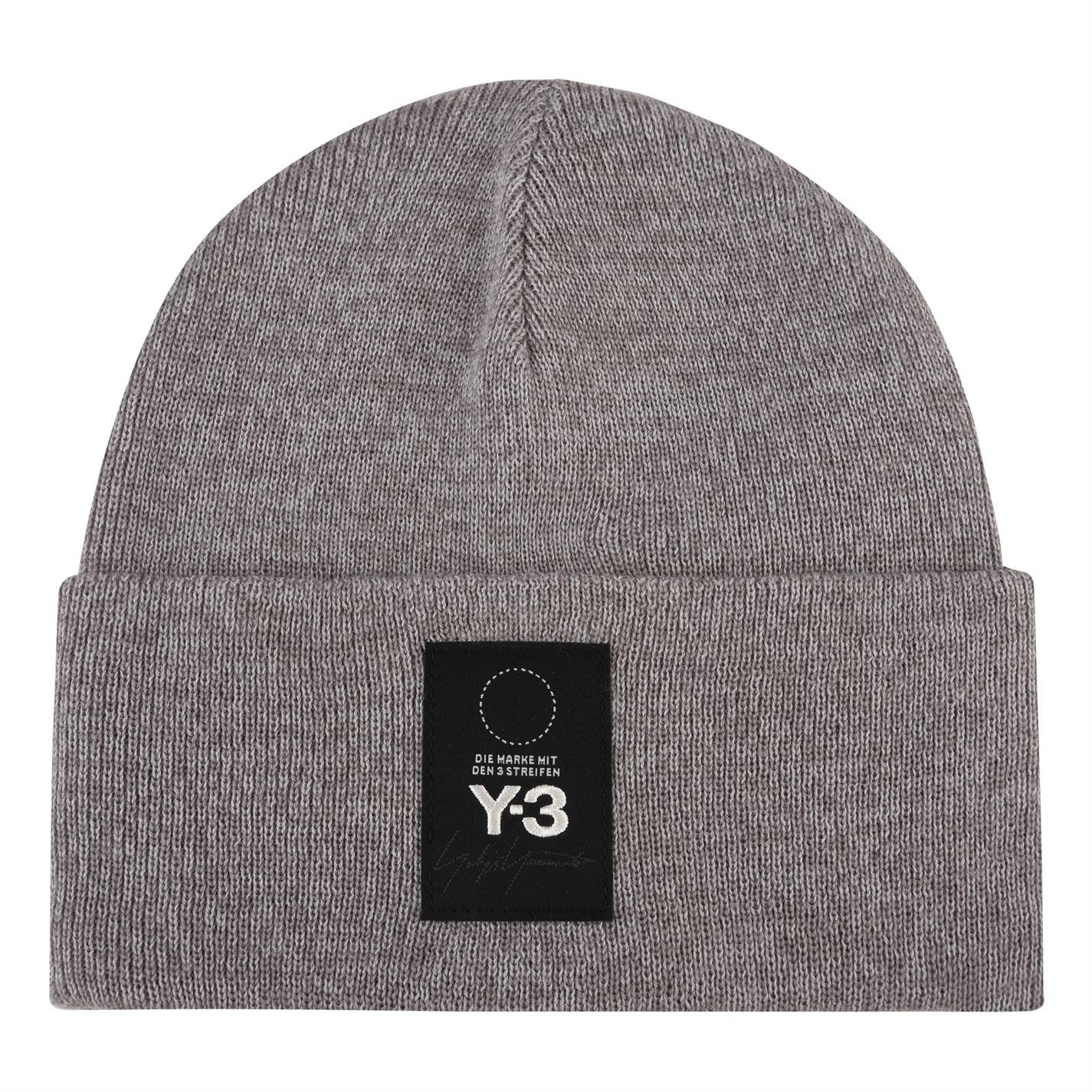 0084f6e5775a1 Y-3 Logo Patch Beanie Hat in Gray for Men - Lyst