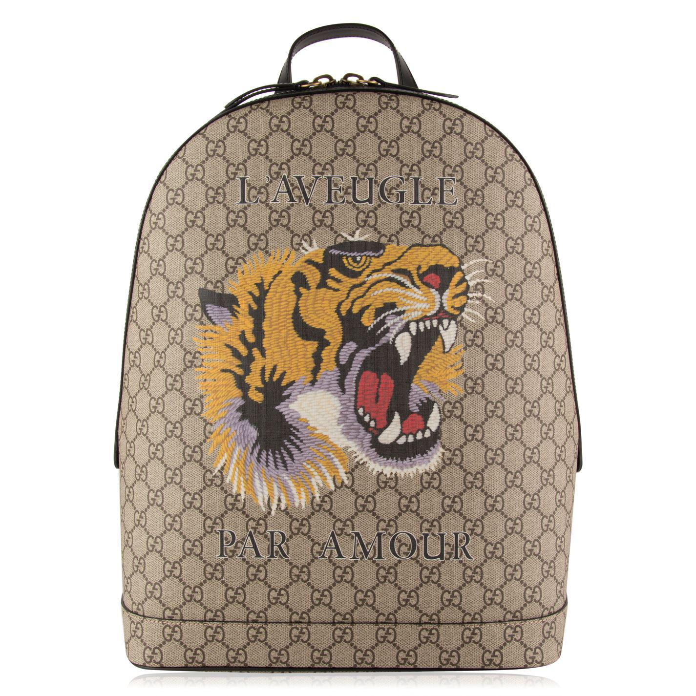 Lyst - Gucci Tiger Gg Supreme Backpack in Natural 49f1e27053894