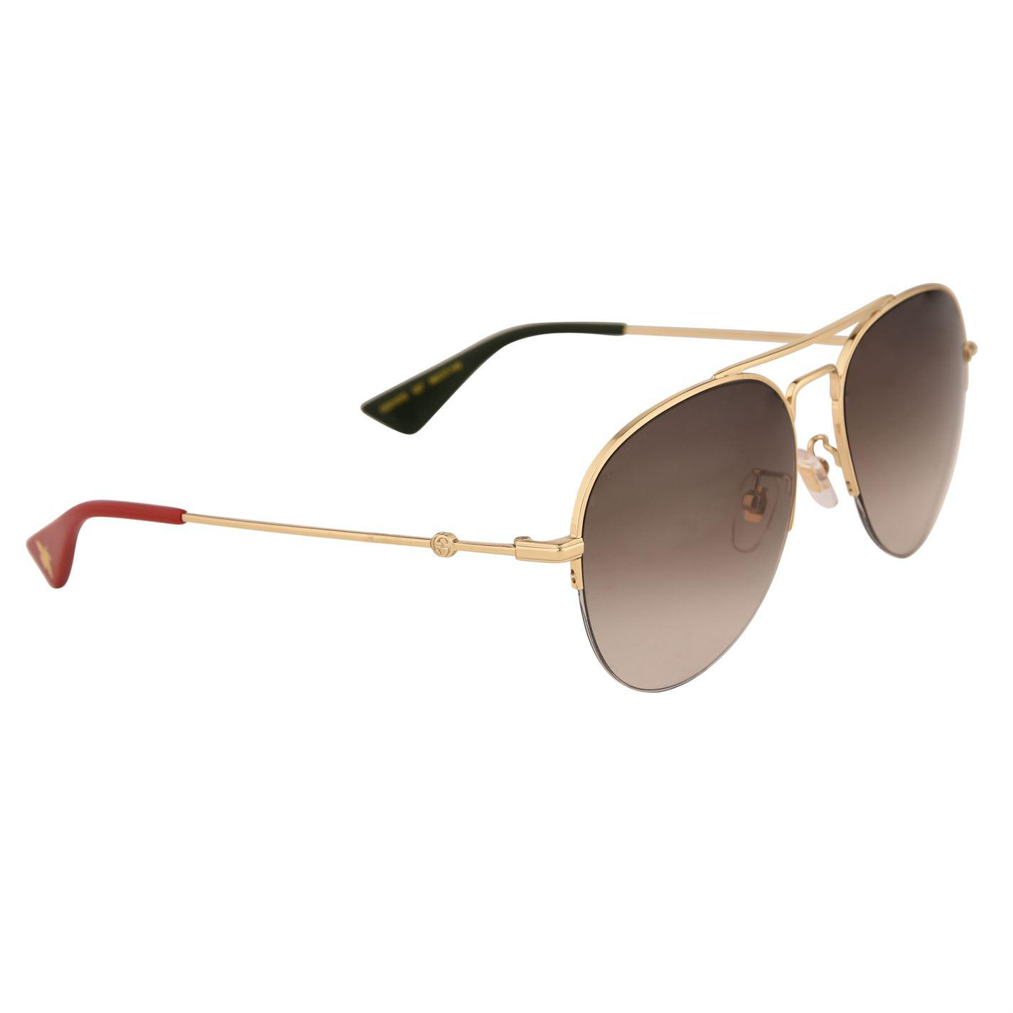 24a8bf6b76b9a Lyst - Gucci Gg0107s Aviator Metal Sunglasses in Brown