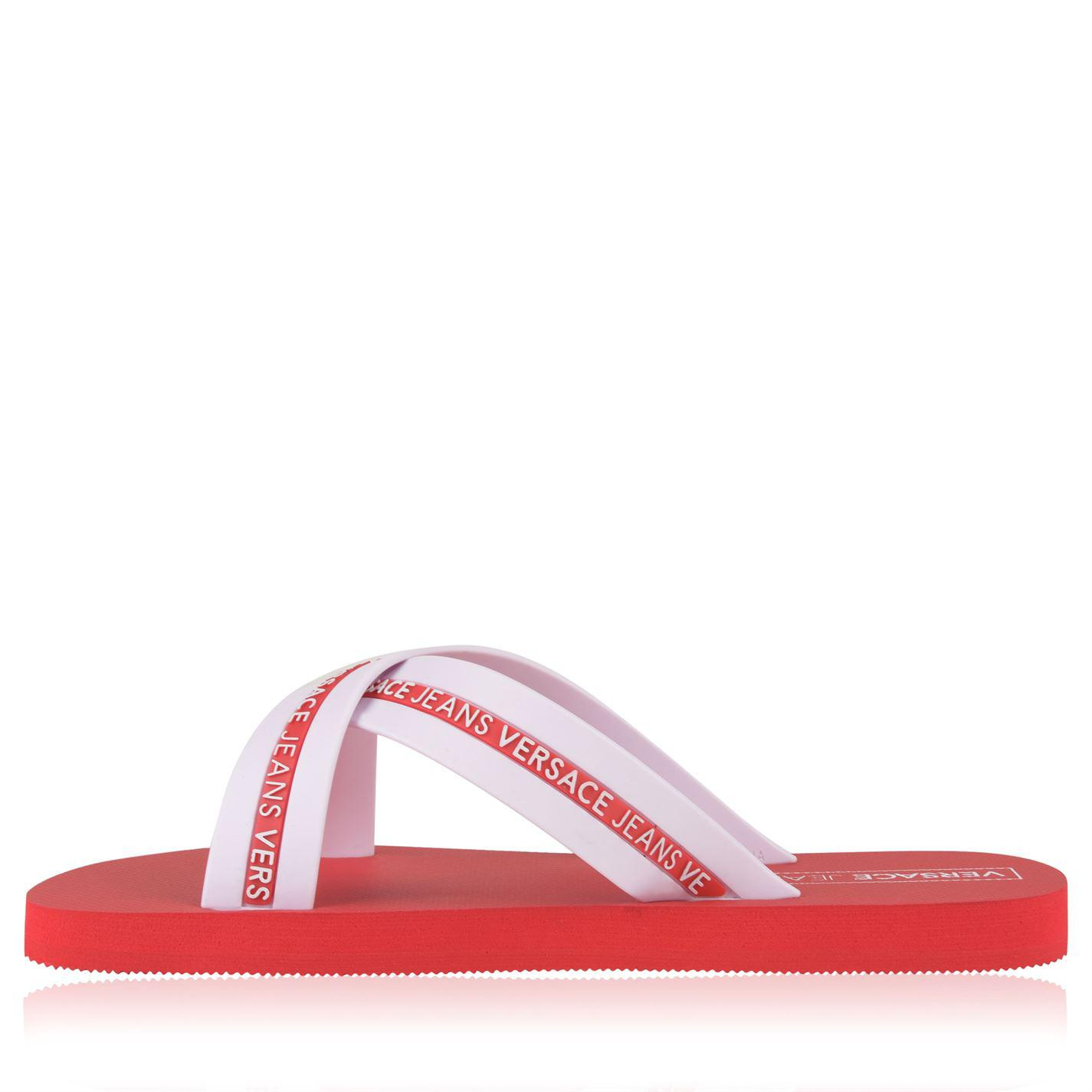 0c28a3d60ca9 Versace Jeans Mare Logo Flip Flops in Red for Men - Lyst